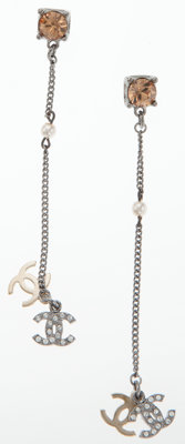 Chanel Gunmetal Chain and Rhinestone Earrings with CC Pendant