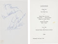 Music Memorabilia:Autographs and Signed Items, Beatles Signed A Hard Day's Night Train Luncheon Menu datedMarch 4, 1964. ... (Total: 3 Items)
