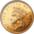 Three Dollar Gold Pieces, 1859 $3 MS62 Prooflike NGC....
