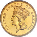 Proof Three Dollar Gold Pieces, 1876 $3 -- Tooled -- PCGS Genuine. Proof, AU Details. ...