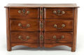 Furniture : French, A CONTINENTAL PROVINCIAL WALNUT SERPENTINE CHEST. 19th century. 31x 51 x 21-1/4 inches (78.7 x 129.5 x 54.0 cm). ...