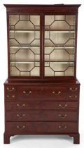 Furniture , A GEORGE III-STYLE MAHOGANY AND GLASS SECRETARY BOOKCASE . 19th century . 86-3/4 inches high x 48 inches wide x 22-1/4 inche... (Total: 2 Items)