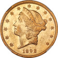 Liberty Double Eagles, 1892 $20 -- Improperly Cleaned -- NGC Details. AU....