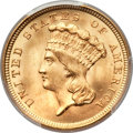 Three Dollar Gold Pieces, 1854 $3 MS64+ PCGS. CAC....