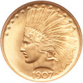 Indian Eagles, 1907 $10 No Periods MS65 NGC. CAC....