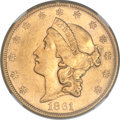 Liberty Double Eagles, 1861-S $20 AU55 NGC....