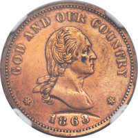 1863 2C Two Cents, Judd-305, Pollock-370, Baker-37, R.4 -- Reverse Counterpunch, Cleaned -- NGC Details. Proof....(PCGS#...