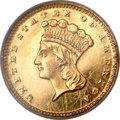Gold Dollars, 1875 G$1 MS60 NGC....
