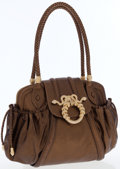 Luxury Accessories:Bags, Judith Leiber Metallic Leather Shoulder Bag with Gold Snake Detail....