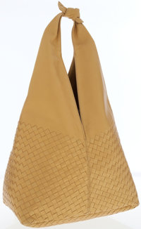 Bottega Veneta Gold Intrecciato Woven Leather Hobo Bag