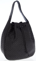 Luxury Accessories:Bags, Bottega Veneta Black Intrecciato Woven Leather Hobo Bag withDrawstring. ...