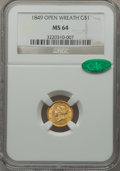 1849 G$1 Open Wreath MS64 NGC. CAC. Breen-6004....(PCGS# 7502)