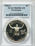 Modern Issues: , 1996-P $1 Olympic/Paralympics Silver Dollar PR69 Deep Cameo PCGS.PCGS Population (1357/11). NGC Census: (1207/6). Numisme...