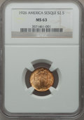Commemorative Gold: , 1926 $2 1/2 Sesquicentennial MS63 NGC. NGC Census: (1458/4129).PCGS Population (2385/6449). Mintage: 46,019. Numismedia Ws...