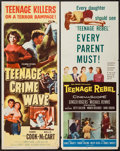 "Movie Posters:Exploitation, Teenage Crime Wave & Other Lot (Columbia, 1955). Inserts (2)(14"" X 36""). Exploitation.. ... (Total: 2 Items)"