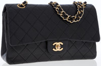Chanel Black Lambskin Leather Medium Classic Double Flap Bag with Gold Hardware