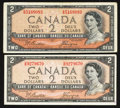 Canadian Currency: , $2 1954 Devil's Face and Modified Portrait Examples. ... (Total: 2notes)