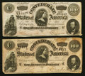 Confederate Notes:1864 Issues, T65 $100 1864 PF-2 Cr. 493 Two Examples.. ... (Total: 2 notes)