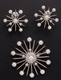 Estate Jewelry:Suites, Retro, Pearl, Diamond, White Gold Suite. ... (Total: 2 Items)
