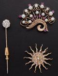 Estate Jewelry:Brooches - Pins, Multi-Stone, Gold Brooch and Stick Pin Lot. ... (Total: 3 Items)