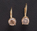 Estate Jewelry:Earrings, Light Brown Diamond, Gold Earrings. ...