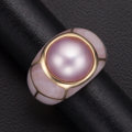 Estate Jewelry:Rings, Pink Cutlured Pearl, Mother-Of-Pearl, Gold Ring. ...