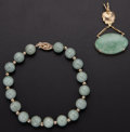 Estate Jewelry:Lots, Jadeite, Jade, Gold Jewelry. ... (Total: 2 Items)