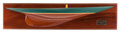 Maritime:Decorative Art, A HALF HULL SHIP MODEL OF SHAMROCK V . 48-1/4 inches long(122.6 cm) (back plate). ...