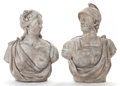Decorative Arts, French:Other , A PAIR OF FRENCH STONE BUSTS, AFTER F. ROUCOURT: MARS ANDFLORE. 19th century. Marks: Mars, Flore, F. Roucourt, 17...(Total: 2 Items)