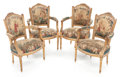 Furniture , A SET OF FOUR LOUIS XVI-STYLE CARVED GILT WOOD ARMCHAIRS WITH AUBUSSON TAPESTRY UPHOLSTERY . 20th century. 35-1/2 inches (90... (Total: 4 Items)