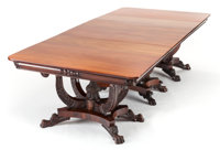 A PHILADELPHIA CLASSICAL REVIVAL MAHOGANY TRIPLE PEDESTAL DINING TABLE Attributed to Anthony Quervelle, circa 1830