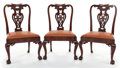 Furniture , A SET OF THREE GEORGE III-STYLE MAHOGANY SIDE CHAIRS . 20th century. 38 inches high (96.5 cm). PROPERTY FROM A PRIVATE TEX... (Total: 3 Items)