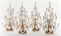 A SET OF FOUR ROCK CRYSTAL AND GILT BRASS EIGHT-LIGHT CANDELABRA 20th century 41 inches high (104.1 cm)