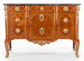 Furniture , A LOUIS XVI-STYLE KINGWOOD, MAHOGANY AND GILT BRONZE MOUNTED COMMODE WITH MARBLE TOP. 20th century. 30-1/2 x 50-1/2 x 23... (Total: 2 Items)