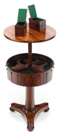 Furniture , AN ENGLISH ROSEWOOD TELESCOPING HUMIDOR TABLE. 20th century. 40-1/2 inches high x 20 inches diameter (102.9 x 50.8 cm) (open...
