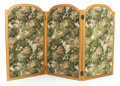 Decorative Arts, Continental:Other , A THREE-PANEL NEEDLEPOINT AND PARCEL-GILT FOLDING SCREEN. 20thcentury. 48-1/2 inches high x 96 inches wide (123.2 x 243.8 c...