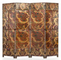Decorative Arts, Continental:Other , A FOUR-PANEL EMBOSSED LEATHER AND PAINTED FLOOR SCREEN . Early 20thcentury. 78-3/4 inches high x 86 inches wide (200.0 x 21...