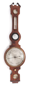 Decorative Arts, Continental:Other , A VICTORIAN ROSEWOOD WALL BAROMETER. Late 19th century . 43-1/2inches high (110.5 cm). PROPERTY FROM A PRIVATE TE...