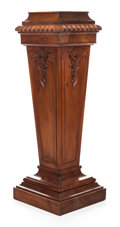 Furniture , A VICTORIAN CARVED MAHOGANY NEOCLASSICAL PEDESTAL. 20th century. 46 inches high (116.8 cm). PROPERTY FROM A PRIVAT...