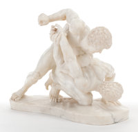 A CARVED MARBLE SCULPTURE, AFTER ANTONIO FRILLI: ROMAN WRESTLERS (Italian, d. 1892), 20th ce