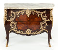 Furniture : French, A LOUIS XV-STYLE MAHOGANY AND FRUITWOOD MARQUETRY AND GILT BRONZE MOUNTED BOMBÉ COMMODE. Circa 1900. 32-3/4 x 42-1/2 x 20-1/... (Total: 2 Items)