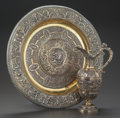 Silver Holloware, British:Holloware, AN ELKINGTON & CO. VICTORIAN CELLINI PATTERNSILVER-PLATED GILT EWER AND CHARGER . Elkington & Co., London,Engl... (Total: 2 )