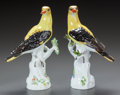 Ceramics & Porcelain, A PAIR OF MEISSEN PORCELAIN FIGURES: ORIOLES PERCHED ON A BRANCH. 20th century. Marks to one: (crossed swords in und... (Total: 2 Items)