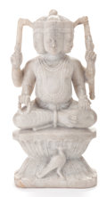 Marble, A MARBLE STATUE OF A HINDU GOD. 20th century. 24-1/2 inches high (62.2 cm). ...