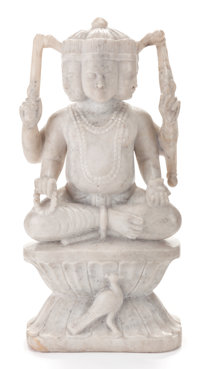 A MARBLE STATUE OF A HINDU GOD 20th century 24-1/2 inches high (62.2 cm)