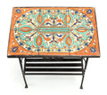 Furniture : Continental, A SPANISH-STYLE PAINTED IRON TILE-TOP SIDE TABLE. Circa 1920. 22 x19 x 12-1/2 inches (55.9 x 48.3 x 31.8 cm). ...