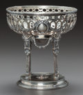 Silver Holloware, Continental:Holloware, A HANAU SILVER RETICULATED BOWL ON STAND. Circa 1900. Marks:G (under crown), P (under crown), RI (inshield und...