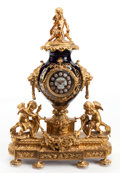 Decorative Arts, French:Other , A SÈVRES-STYLE COBALT PORCELAIN AND GILT BRONZE MANTLE CLOCK. Late19th century. 26-3/4 x 19 x 7 inches (67.9 x 48.3 x 17.8 ...