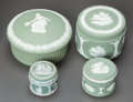 Ceramics & Porcelain, British:Modern  (1900 1949)  , A GROUP OF FOUR GREEN WEDGWOOD LIDDED BOXES . 20th century. Marks:WEDGWOOD, MADE IN ENGLAND. 2-1/8 inches high x 2-3/4 ...(Total: 4 Items)