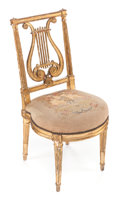 Furniture : French, A FRENCH LOUIS XVI-STYLE GILT WOOD SIDE CHAIR . Circa 1890. 34-1/2x 16-1/2 x 17-1/2 inches (87.6 x 41.9 x 44.5 cm). ...